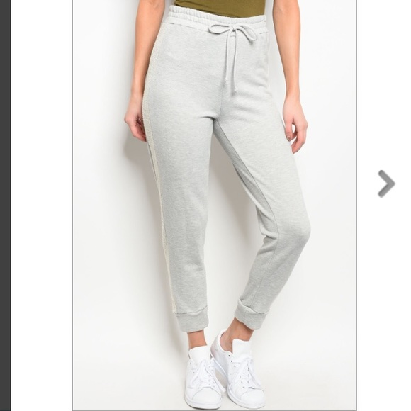 451d16ff7 Trendy boutique Pants | Light Gray Fitted Jogger Wivory Side Panel ...